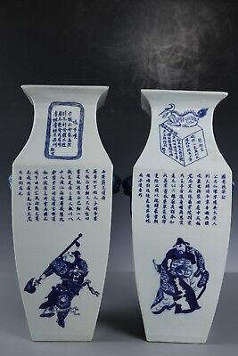 Chinese Beautiful A pair Blue and white porcelain Figure Vase