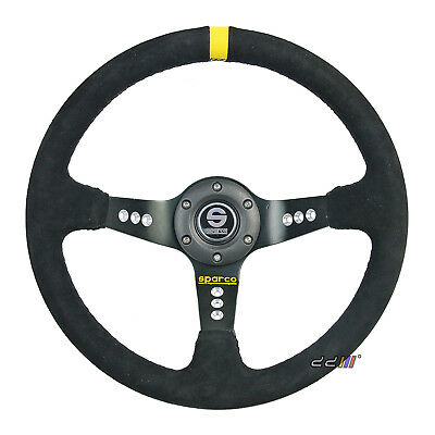350MM SC Style Suede Leather Deep Dish Sport Drift Racing Steering Wheel