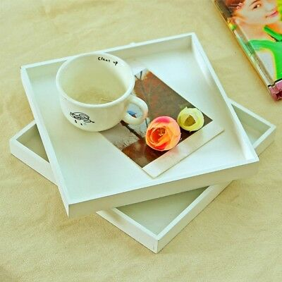 Wood Tray Food Serving Makeup Storage Fruit Plate Photo Props Modern White