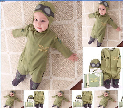 Astronaut Cute Baby Boy 2pc Pilot Military Air Force Halloween Party Costume Set