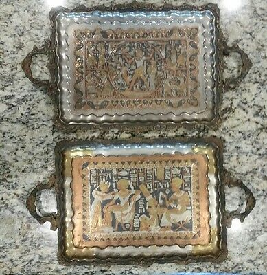 Vintage Solid Brass Egyptian Serving Trays Set Of 2