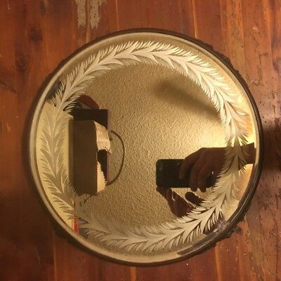 vintage large round mirrored Plateau   silverplate ? Brass? frame beveled mirror