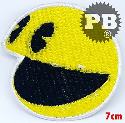 PAC MAN SMILEY Face Kids Children Embroidered Iron On Patch yellow UKSeller