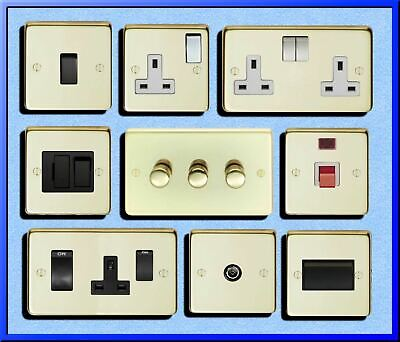 Standard Or Led Dimmers Light Switch Cooker Switch Plug Sockets Polished Brass