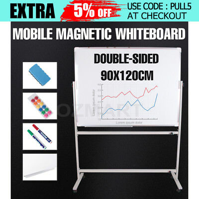 Mobile Magnetic WHITEBOARD 90cmx120cm With Stand Office Double Sided White Board