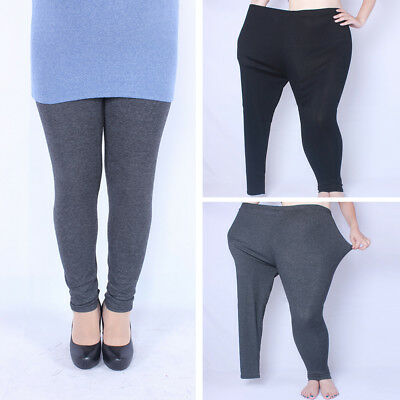 Women Ladies Warm Autumn Winter Cotton Fleece Lined Leggings Pants Plus Size AU