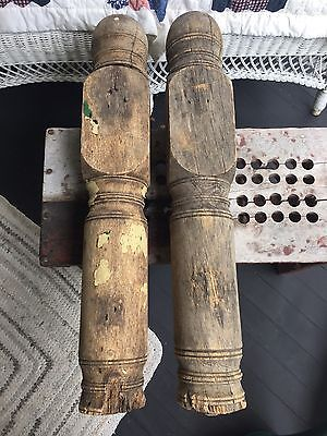 """Architectural Salvage Pair Of Porch Newel Posts Reclaim Decor Chippy Paint 29.5"""""""