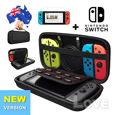 EVA Hard Carrying Case Bag &Tempered Glass Screen Protector For Nintendo Switch