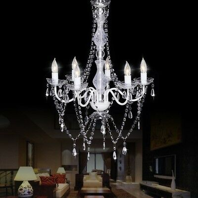 6 Lights Clear Pendant Luxury Crystal Candle Chandeliers Light Lamp Living Room