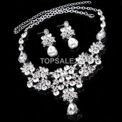 Elegant Crystal Bridal Formal Party Prom Necklace and Earrings Jewellery Set