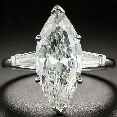 Marquise Cut 4.10 Ct Off White Moissanite Engagement Ring 925 Sterling Silver