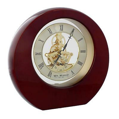 Mahogany Wood Wooden Round Mantel Table Clock w Skeleton Dial
