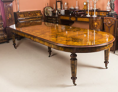 Amazing Bespoke Handmade 12ft Victorian Style Burr Walnut Marquetry Dining Table