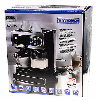 beem espressomaschine kaffeemaschine 20 bar chrom schwarz. Black Bedroom Furniture Sets. Home Design Ideas