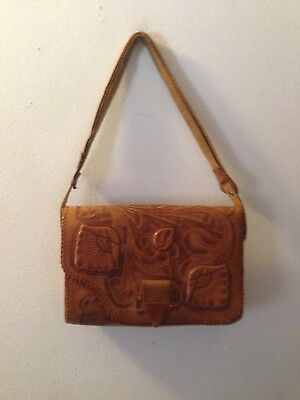 Vintage Hand Tooled Leather Purse Two Sided Made In Mexico
