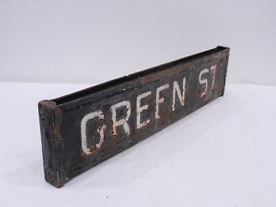 GREEN ST. Retired Antique Vtg Embossed Hand Painted Steel Street Road Sign PA