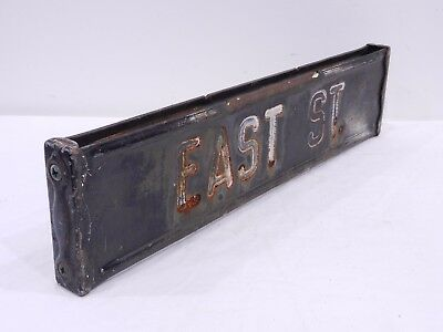 EAST ST. Retired Antique Vtg Embossed Hand Painted Steel Street Road Sign PA