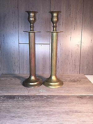 2 Matching Vintage/Antique Brass Candlestick Holders SOLID BRASS ENESCO 10 inch