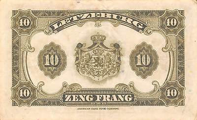 Luxembourg  10 Francs  ND. 1944  P 44a  No Series  Circulated Banknote NY1117S