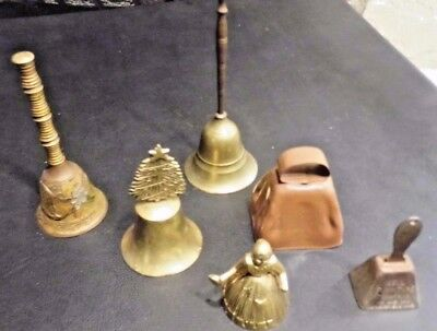 Lot of 6 RARE Antique Vintage Assorted Christmas School Brass Bells Unusual