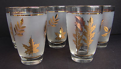 Set Five Mid Century Modern Libby Frosted Glass Gold Leaves Foliage MCM Autumn