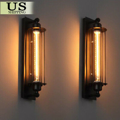 2 PCS Vintage Industrial Metal Wall Lamp Sconce Light Edison Porch Flute Fixture