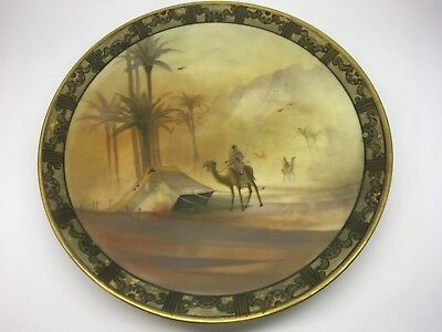 Large Nippon Hand Painted Desert Scene Wall Plaque Plate Green Wreath Mark 47