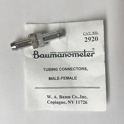 W.A Baum Tubing Connector, Female-Male Connector, #2920. NEW
