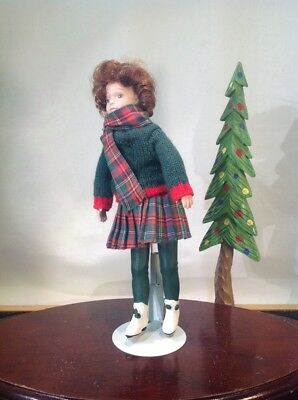 "Vtg. Handmade Porcelain Doll Ice Skater With Stand 10"" Tall"