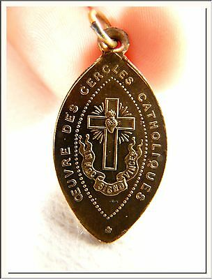 ANTIQUE 1900's FRENCH MOTHERS of FAMILY & SACRED HEART BRONZE MEDAL ! SEE MORE !