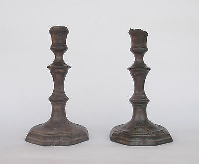 Rare Antique 17Th/18Th Century Portuguese Pewter Pair Of Candle Holders