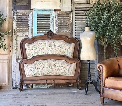 Lovely vintage French Upholstered Louis XV double bed frame