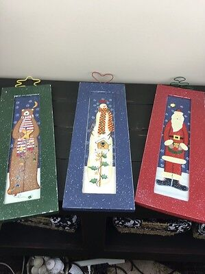 Home Interiors and Gifts Framed Prints One Set of 3 Pieces Santa, Bear, Snowman