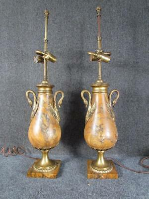 ANTIQUE PAIR OF FRENCH BRONZE & MARBLE LAMPS with FIGURAL SWAN HANDLES