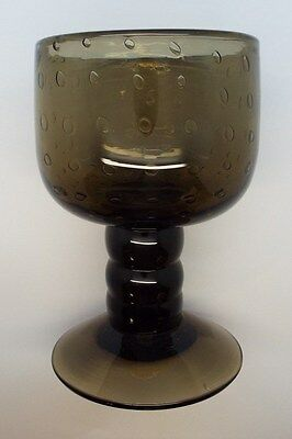 Vintage Green Bubble Glass Giant Goblet Vase