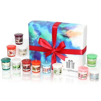 Premium Scented Candle Gift Set Containing 12 Colourful Fragranced Candles in Di