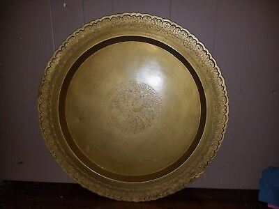 "24"" Old Vintage India Very Detail Hand Carved Brass / Bronze Platter / Plate,"