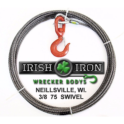 "3/8"" X 75' Winch Cable.Fiber Core W/Swivel Hook Wire Rope.Cable.Wrecker,Rollback"