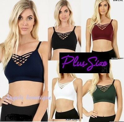 Plus Size Triple Criss Cross V  Sports Bra Cage Strappy Crop Top  With Pads