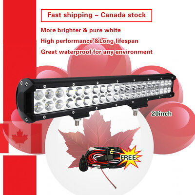 20inch CREE LED Work Light Bar Flood Spot Offroad Truck SUV + Wiring Kit Harness