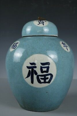 Chinese Beautiful Blue and white porcelain word Pot