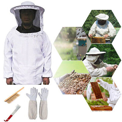 Beekeeping Beekeeper Equipment Tool Jacket Veil + Gloves + Bee Brush + Hive Hook
