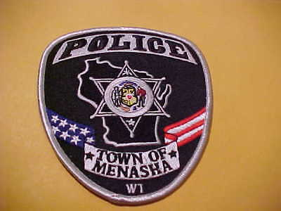 Town Of Menasha  Wisconsin Police Patch Shoulder Size Unused Type 3