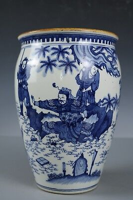 Chinese Beautiful Blue and white porcelain character jar