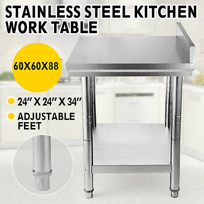 """24""""x24"""" Stainless Steel Work Prep Table with Backsplash Kitchen Food NSF HOT"""