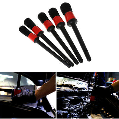 5Pcs Natural Boar Hair Detail Brush Set Automotive Detailing For Car Cleaning