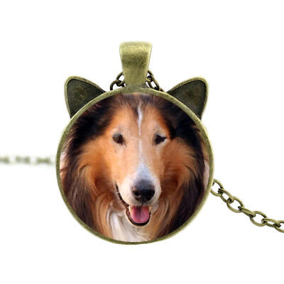"""Collie Dog With Ears 21"""" Antique Gold Tone Chain Pendant Necklace In Gift Box"""