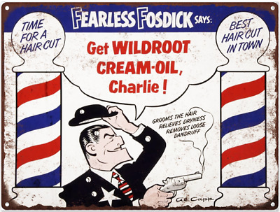 """Fearless Fosdick Wildroot Barber Shop Metal Sign Ad Repro  9x12"""" 60220"""