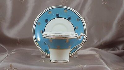 AYNSLEY BONE CHINA Teacup & Saucer TURQUOISE & STARBURSTS  ENGLAND