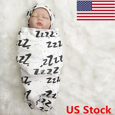 US Unisex Infant Baby Girl Boy Romper/Cloth Wrapping Headband Outfits Set 2PCS